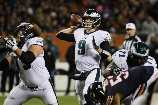 Nick Foles (9) of the Philadelphia Eagles passes against the Chicago Bears in the third quarter of the NFC Wild Card Playoff game at Soldier Field on Jan. 6, 2019 in Chicago.