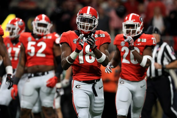 Deandre Baker (18) of the Georgia Bulldogs celebrates a play during the second quarter against the Alabama Crimson Tide in the CFP National Championship presented by AT&T at Mercedes-Benz Stadium on Jan. 8, 2018 in Atlanta.