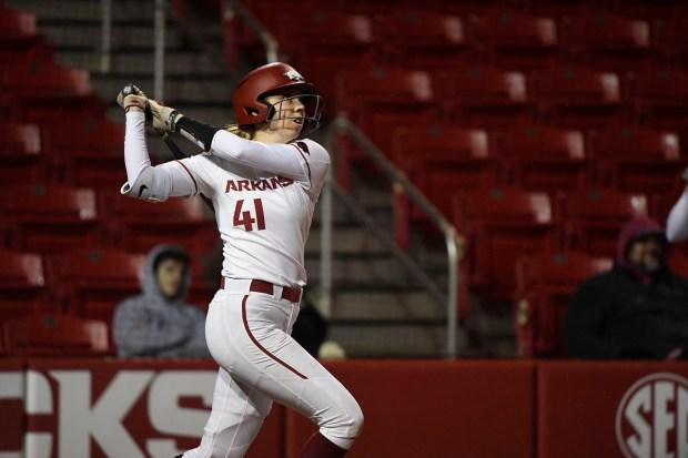 Arkansas batter Danielle Gibson against SEMO ...