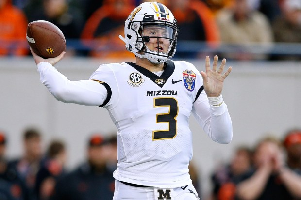 Drew Lock of the Missouri Tigers throws the ball against the Oklahoma State Cowboys during the first half of the AutoZone Liberty Bowl at Liberty Bowl Memorial Stadium on Dec. 31, 2018 in Memphis, Tenn.