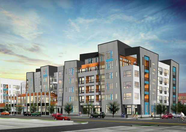 A rendering of the Modera River North apartment building.