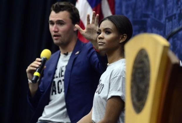 Charlie Kirk and Candace Owens of Turning Point USA speak on the University of Colorado Boulder campus in October 2018.