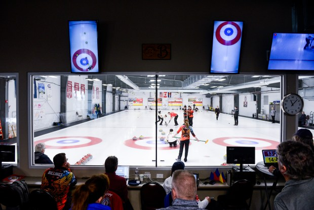 Spectators watch as teams compete during ...