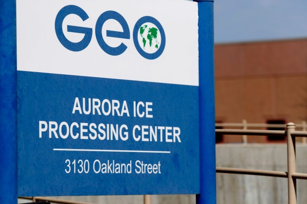 This April 15, 2017, file photo, shows the entrance to the GEO Group's immigrant detention facility in Aurora.