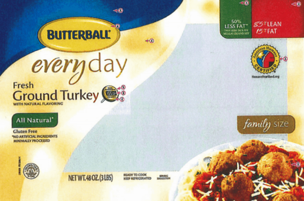 A Butterball ground turkey package. Several Butterball turkey products were recalled due to possible Salmonella contamination on March 14, 2019.