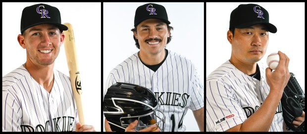 From left, Rockies second baseman Ryan McMahon, catcher Tony Wolters and pitcher Seunghwan Oh.