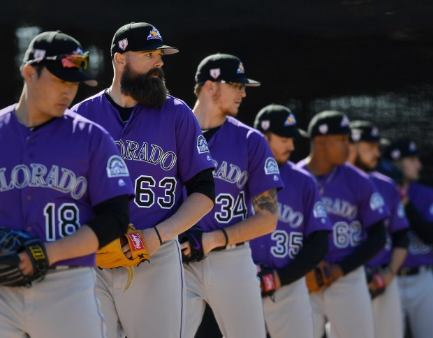 Colorado Rockies pitcher DJ Johnson (63) ...