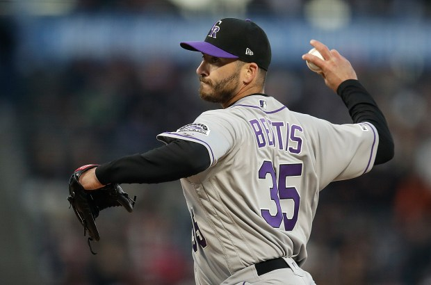 Colorado Rockies pitcher Chad Bettis works ...