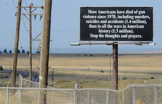 """Boulder attorney responds to Weld County's """"Second Amendment Sanctuary"""" status with six billboards decrying gun violence"""