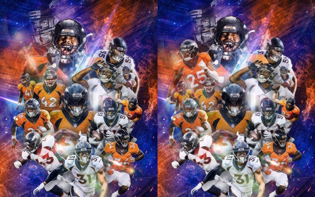 "The two versions of the Broncos' ""Avengers""-themed wallpaper. The original, without Chris Harris Jr., is on the left."