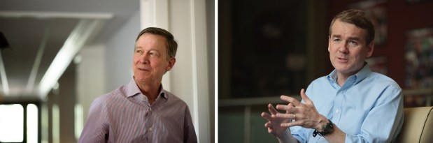 Left: Former Colorado Gov. John Hickenlooper ...