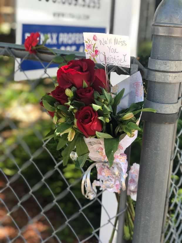 Flowers were placed outside a home ...