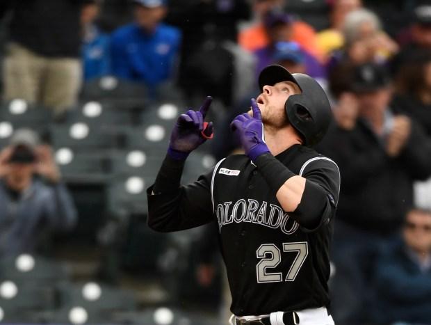 Colorado Rockies shortstop Trevor Story (27) ...