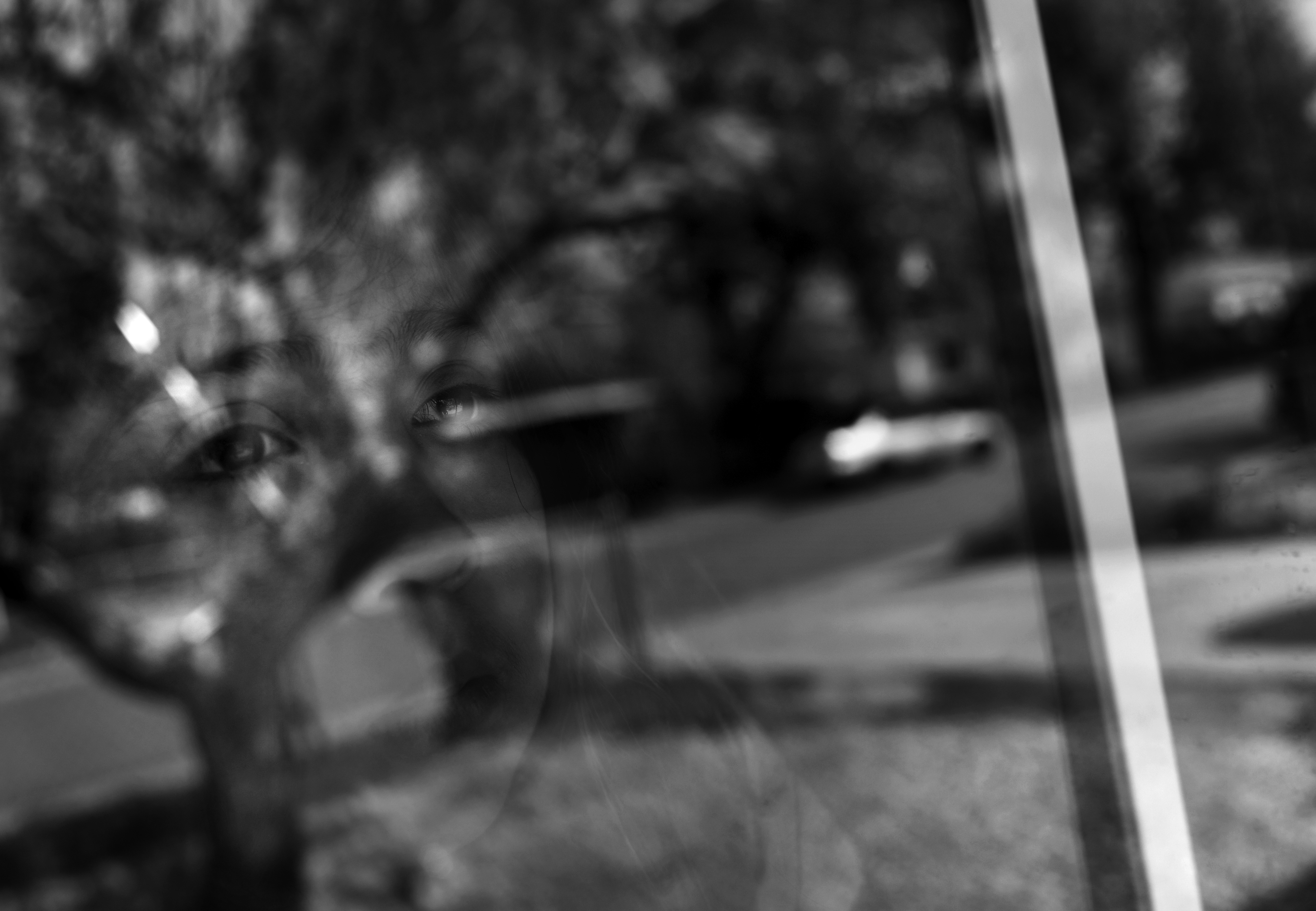 Annabel Rodriguez-Santos, 8, looks out the ...