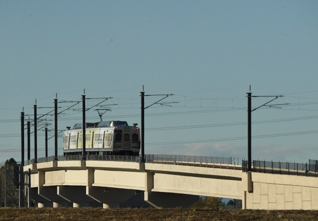 An RTD A-Line train makes a ...