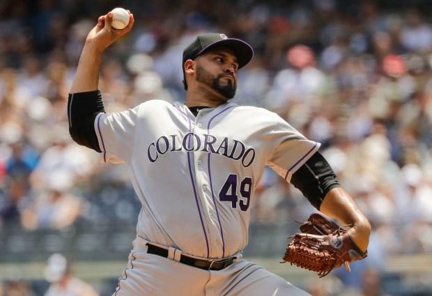 Colorado Rockies' Antonio Senzatela delivers a ...