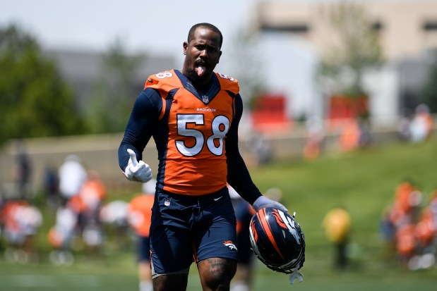 Von Miller (58) showcases his tongue ...