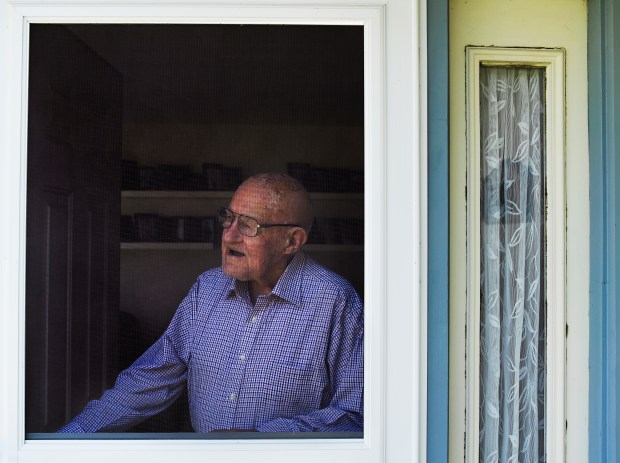 Bob Hansen, 91, looks out his ...