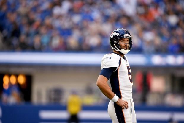 Denver Broncos quarterback Joe Flacco #5 ...