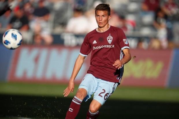 Colorado Rapids midfielder Cole Bassett (26) ...