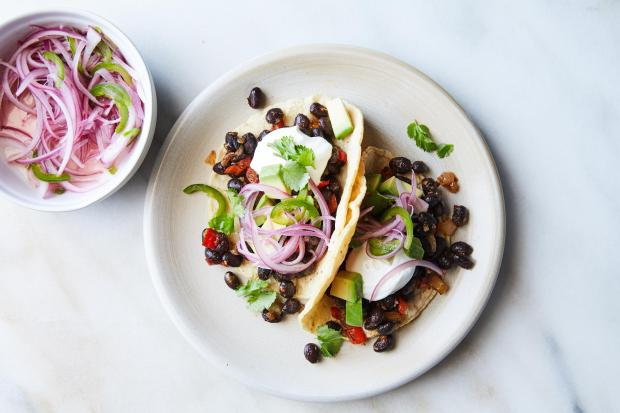 Black bean tacos in New York, ...