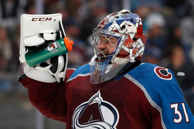 Colorado Avalanche goaltender Philipp Grubauer takes ...