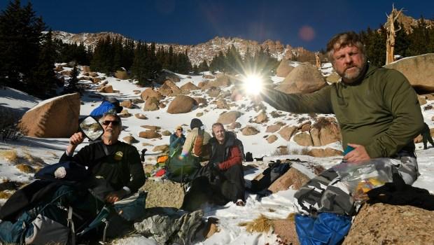Climbers Mark Szabo, left, Chris Mattingly, ...