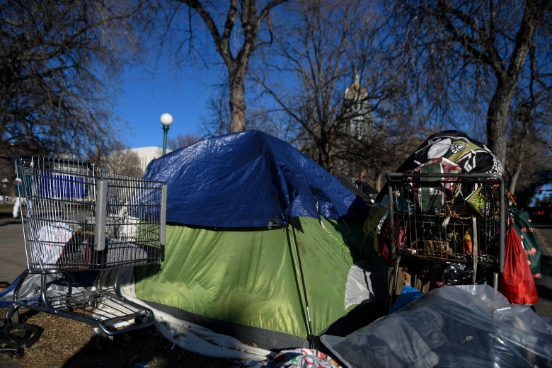 Tents crowd Civic Center after police stop enforcing ...