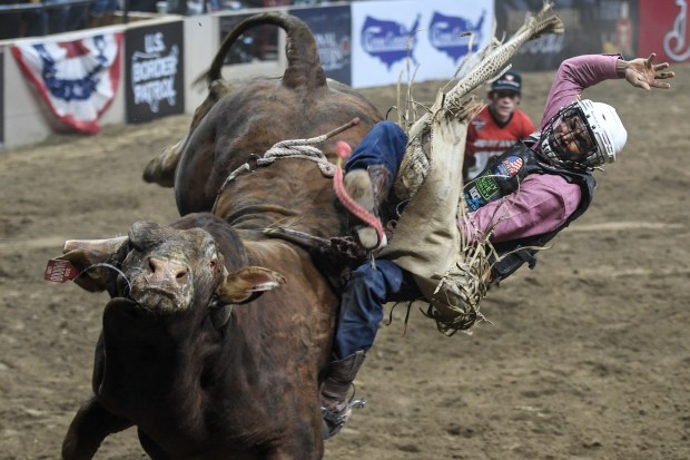 Ouncie Mitchell gets bucked during the ...
