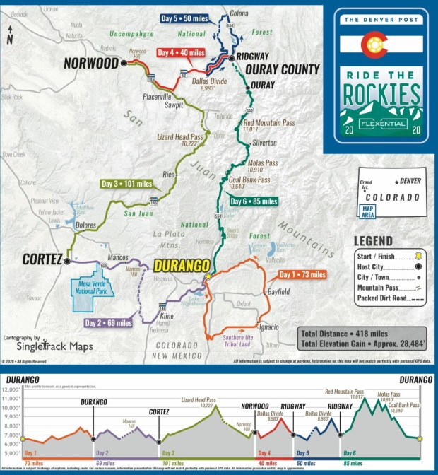 Ride the Rockies 2020 route map