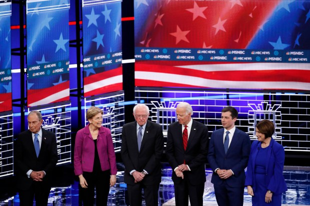 From left, Democratic presidential candidates, former ...