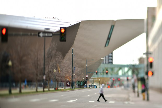 The closed Denver Art Museum in ...