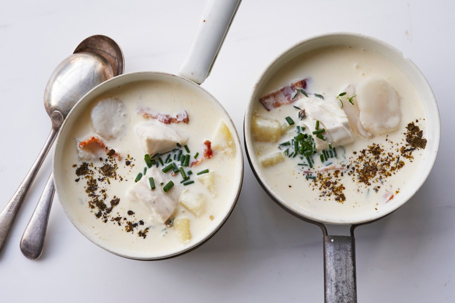 New England seafood chowder in Sydney, ...