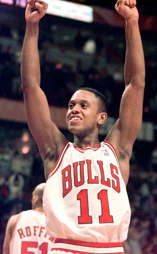 Chicago Bulls' B.J. Armstrong celebrates ...