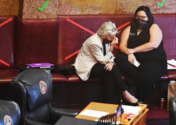 Colorado Senators Joann Ginal, left, and ...