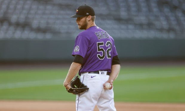 Colorado Rockies pitcher Daniel Bard waits ...