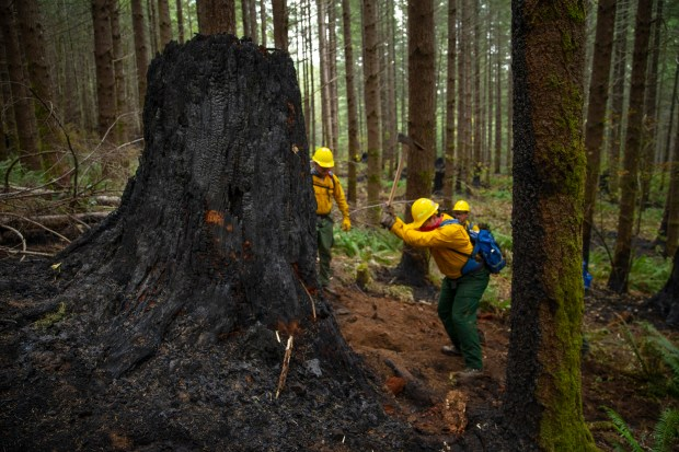 A fire crew from the Oregon ...