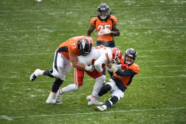 Denver Broncos Garett Bolles, #72, left, ...