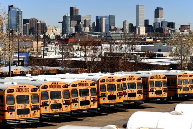 School buses line and parked at ...