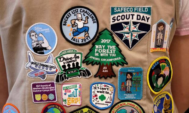 Patches cover the back of ...