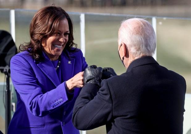 Vice President Kamala Harris bumps fists ...