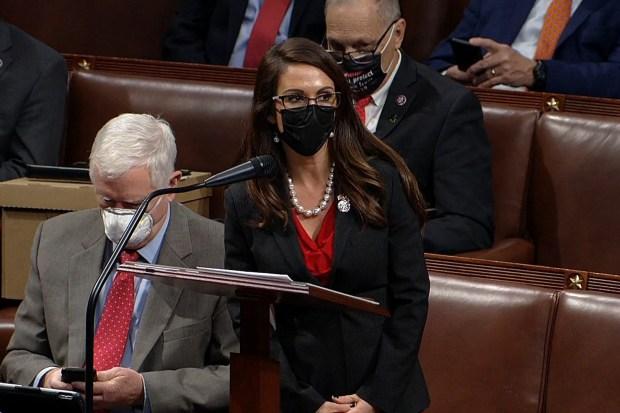Lauren Boebert standing on the floor of Congress