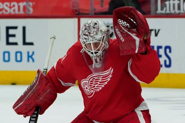 Detroit Red Wings goaltender Calvin Pickard ...