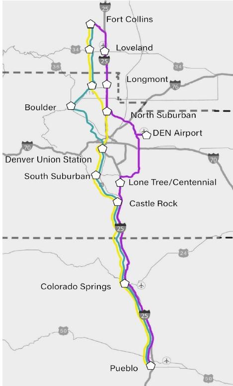 Front Range Passenger Rail route alternatives