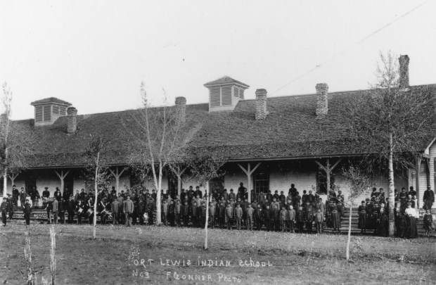 Students and staff at Fort Lewis Indian School in Durango circa 1900.