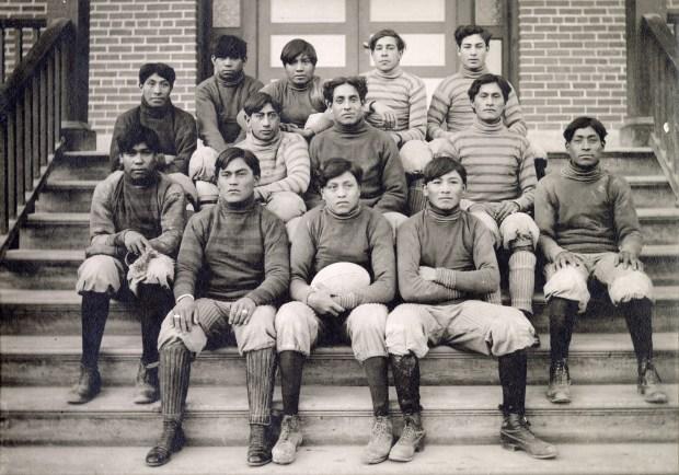The Teller Indian School football team ...