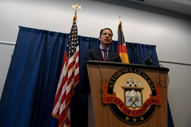 Colorado attorney general Phil Weiser speaks ...