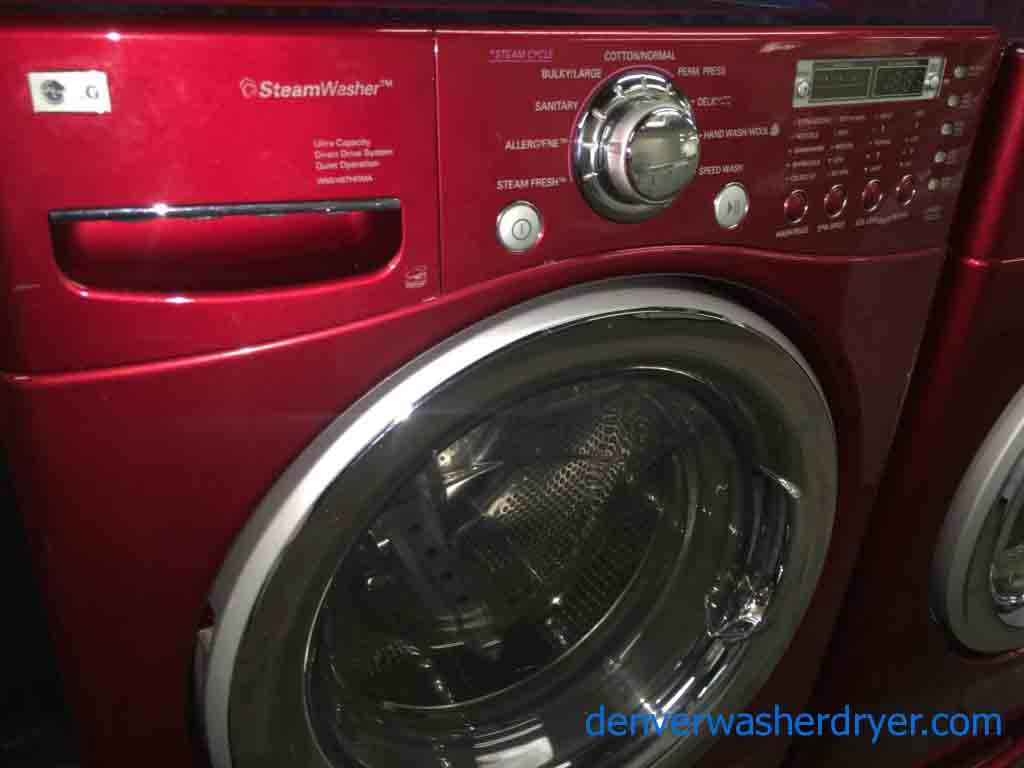 Large Images For Cherry Red Lg Washer Dryer Set On
