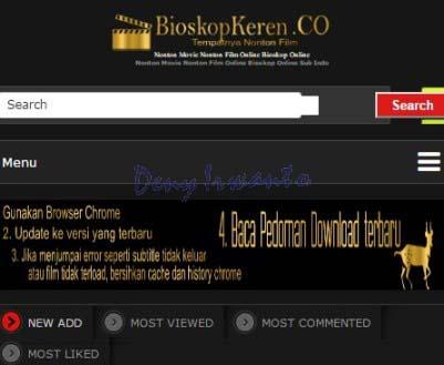 Tampilan Situs Download dan Streaming Film Online, BioskopKeren