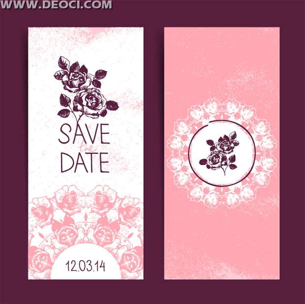 Deoci Vector Templates Greeting Card Romantic Wedding Invitation Design Flower Pattern Pink Background Eps Material